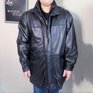 Vintage 90's Y2K Black Leather Lined Topper Coat